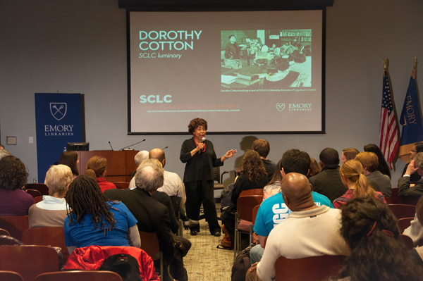 The opening of the Southern Christian Leadership Conference (SCLC) Civil Rights archive exhibit took place Friday in the Robert W. Woodruff Library. Guests included prominent civil right leaders, such as Dorothy Cotton (pictured above, leading the audience in song).