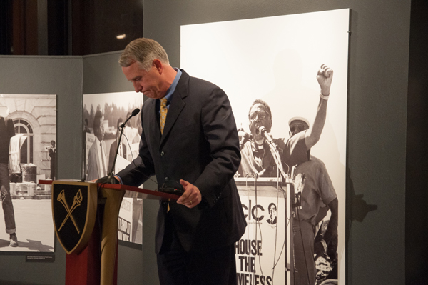 President James W. Wagner gives a speech at the opening celebration of the new SCLC exhibit.