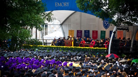 President Wagner delivers the commencement address.