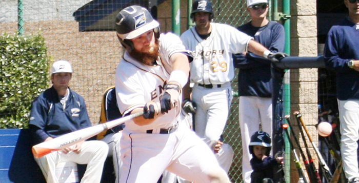 Courtesy of Emory Athletics Senior catcher Jared Welch swings at a pitch. He is hitting .294 with 23 RBIs this season. After beating Berry College Tuesday, the Eagles are now 21-9. That game was the 13th in which Emory has scored a double-digit number of runs this season.