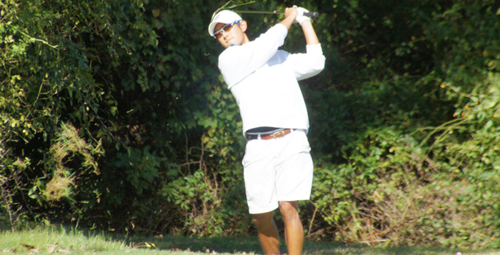Courtesy of Emory Athletics Senior Johnathan Chen watches his shot from the backswing. Chen, who said he was distracted from golf at the start of the season, decided that he will play professionally after graduation. Two weeks ago, he finished the Emory Invitational with a score of 69.