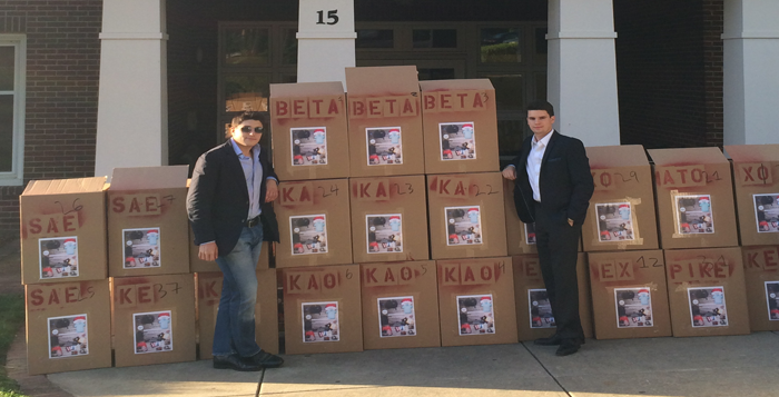 Courtesy of Chris Diglio B-school sophomores and Beta Theta Pi (Beta) brothers Chris Diglio (left) and Griffin Sears (right) placed collection boxes in residence halls, fraternity houses and sorority lodges for Beta's first annual Move Out Clothing Drive.