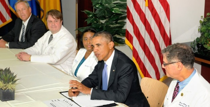 President Barack Obama met with Emory Healthcare staff who worked on the treatment of Ebola patients at Emory University Hospital. Photo Courtesy of Emory University