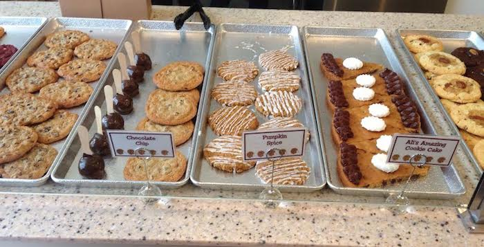 "Ali's Cookies, which opened in Emory Village yesterday, offers a variety of fresh-baked cookies, including chocolate chip, pumpkin spice, ""Ali's Cookie Cake"" and ""Southern Red Velvet."" Photo by Stephen Fowler/Asst. News Editor."