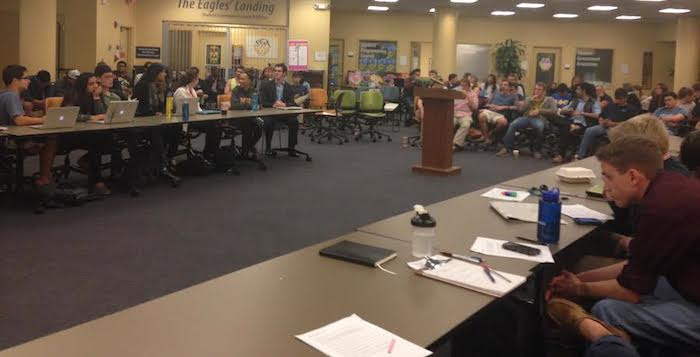 Over 50 students attended Monday's Student Government Association (SGA) meeting, where the  Legislature conducted an open forum discussion about a resolution concerning the app Yik Yak. Photo by Rupsha Basu/News Editor.