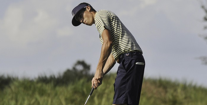 Senior Alex Wunderlich watches his shot head toward the hole. Wunderlich led the Eagles to a sixth-place finish out of 21 teams at the Chick-fil-A Collegiate Invitational on Monday and Tuesday. | Courtesy of Emory Athletics