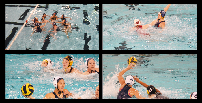 The Emory club women's water polo team huddles at last weekend's Emory Invitational (top left). Senior Hayley Huffman takes a shot on an opposing team's goal (top right).  Senior Shannon Lin passes to a teammate (bottom left). Masters of Public Health student Caitlin Casey battles the ball away from the opposition (bottom right). | Courtesy of Abigail Chambers
