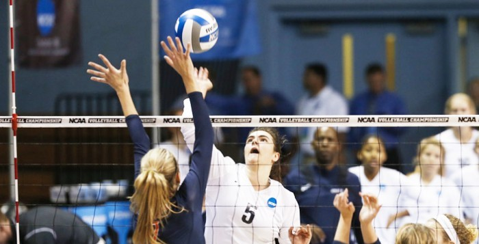 Sophomore right side hitter Sarah Maher attempts a spike. Maher put up 21 kils and 14 digs in the Eagles' NCAA National Championship loss against Hope College (Mich.) yesterday. She and the Eagles finished the season with an overall record of 39-4.  Courtesy of Emory Athletics.